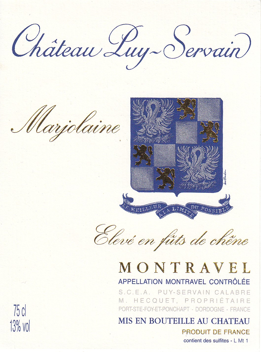 Etiquette Château Puy Servain Marjolaine