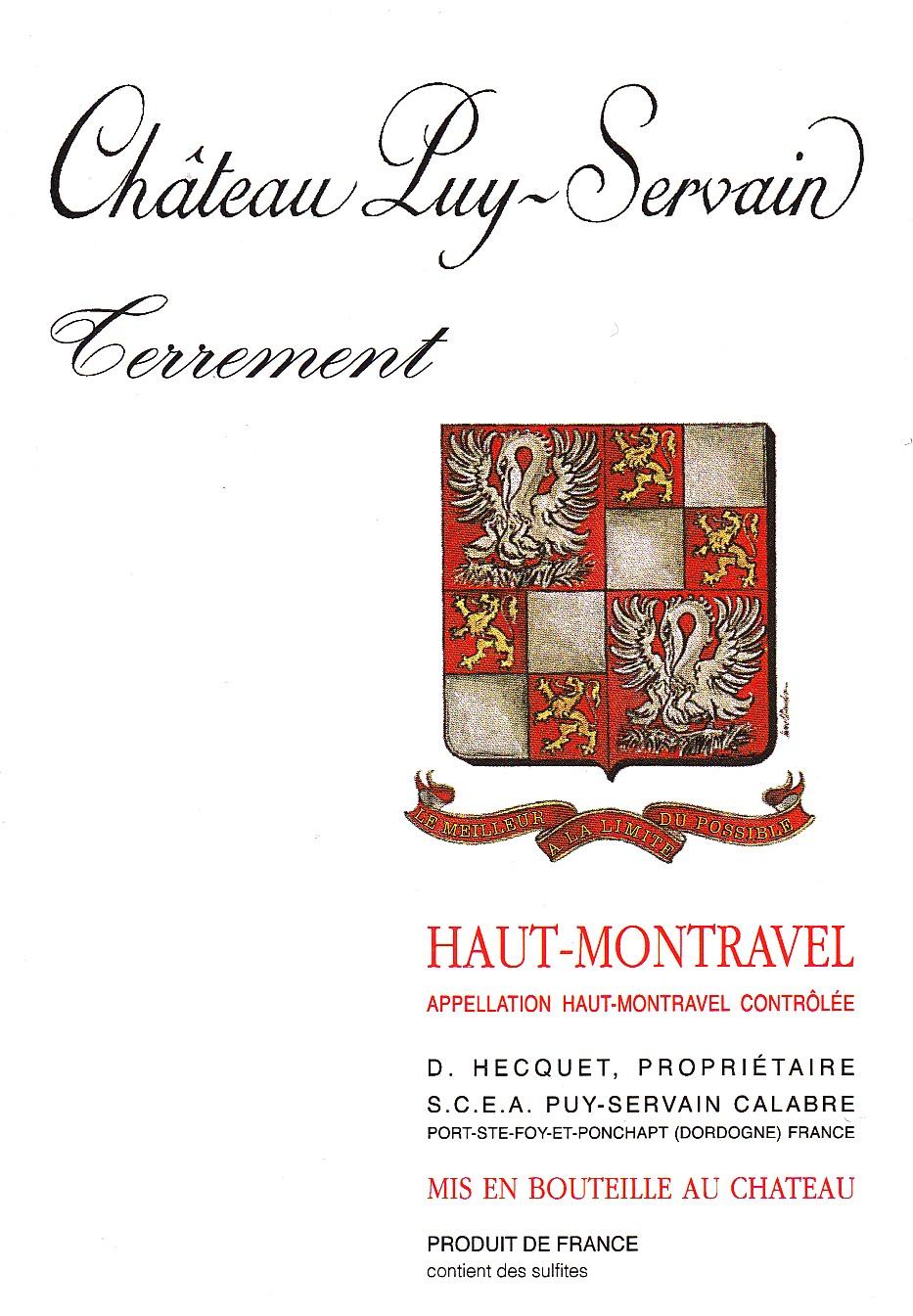 Etiquette Château Puy Servain Terrement Haut-Montravel