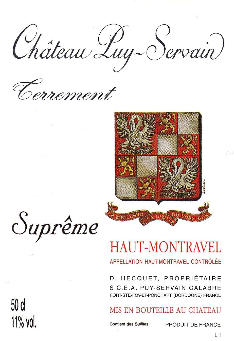 Etiquette Château Puy Servain Suprême Haut-Montravel