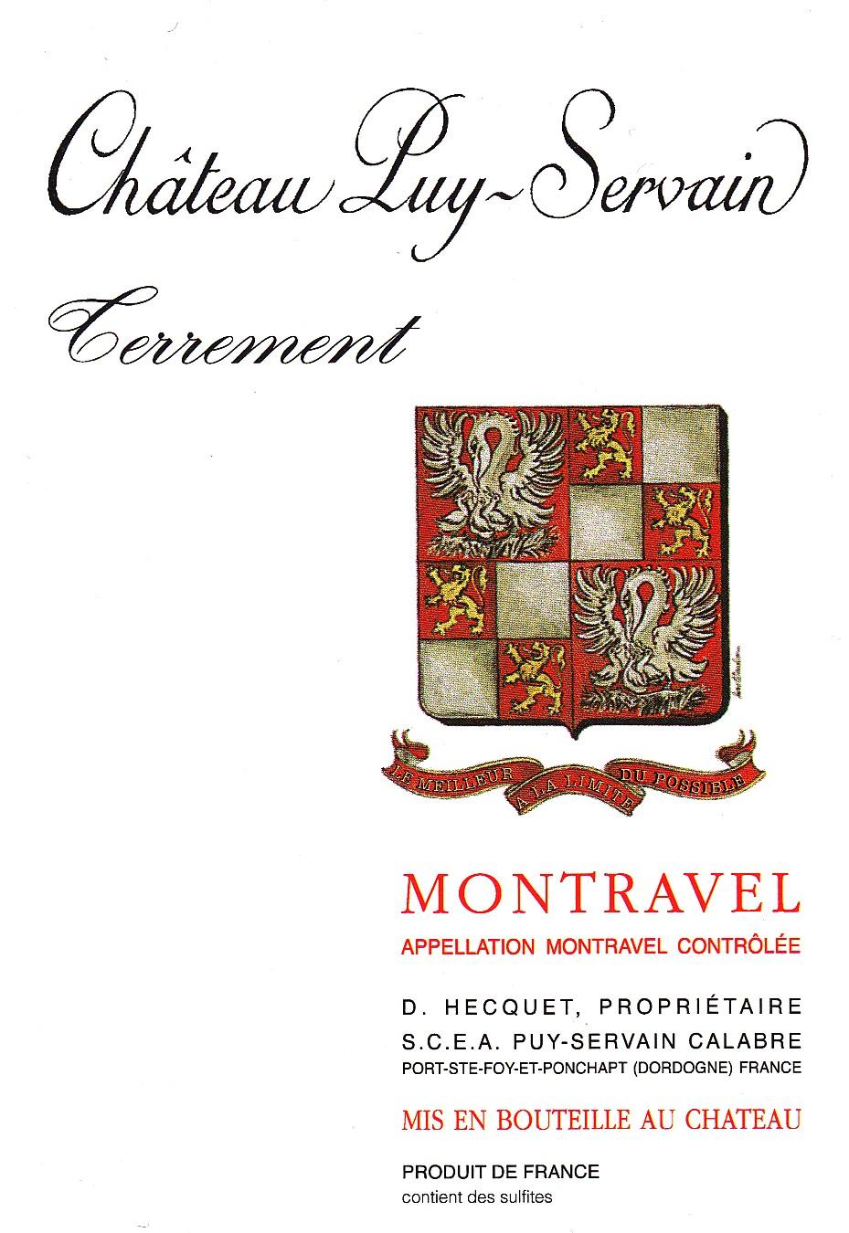 Etiquette Château Puy Servain Terrement blanc sec