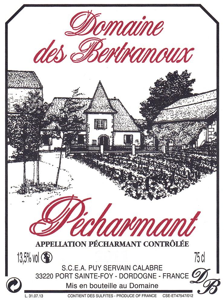 Etiquette Domaine des Bertranoux Pécharmant