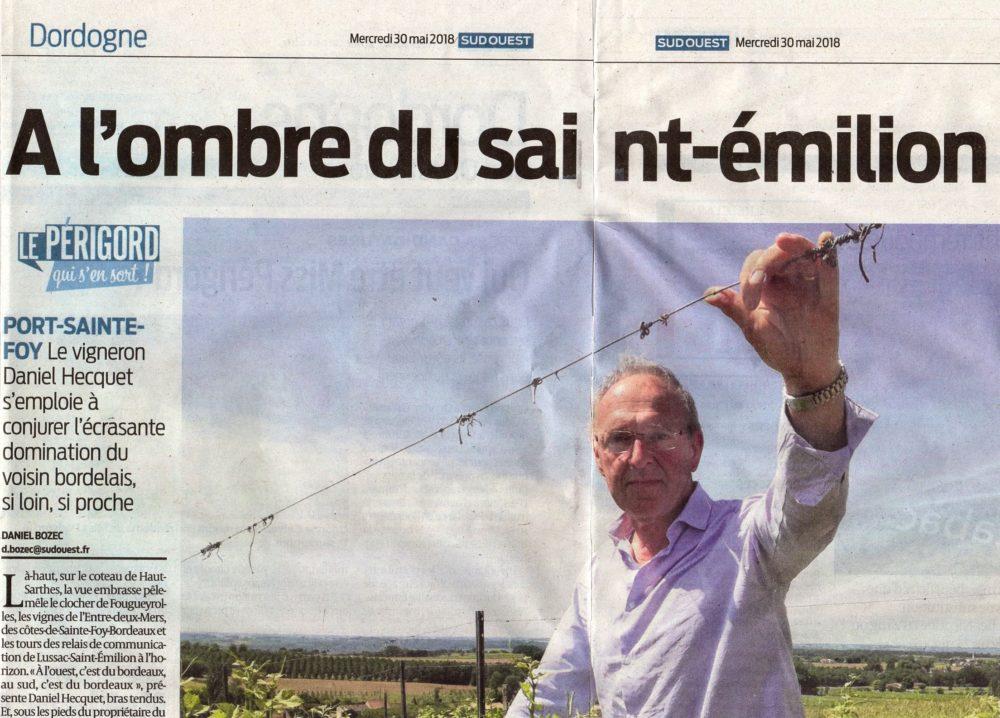Article Sud-Ouest : Le vignoble qui vit à l'ombre de Saint-Emilion